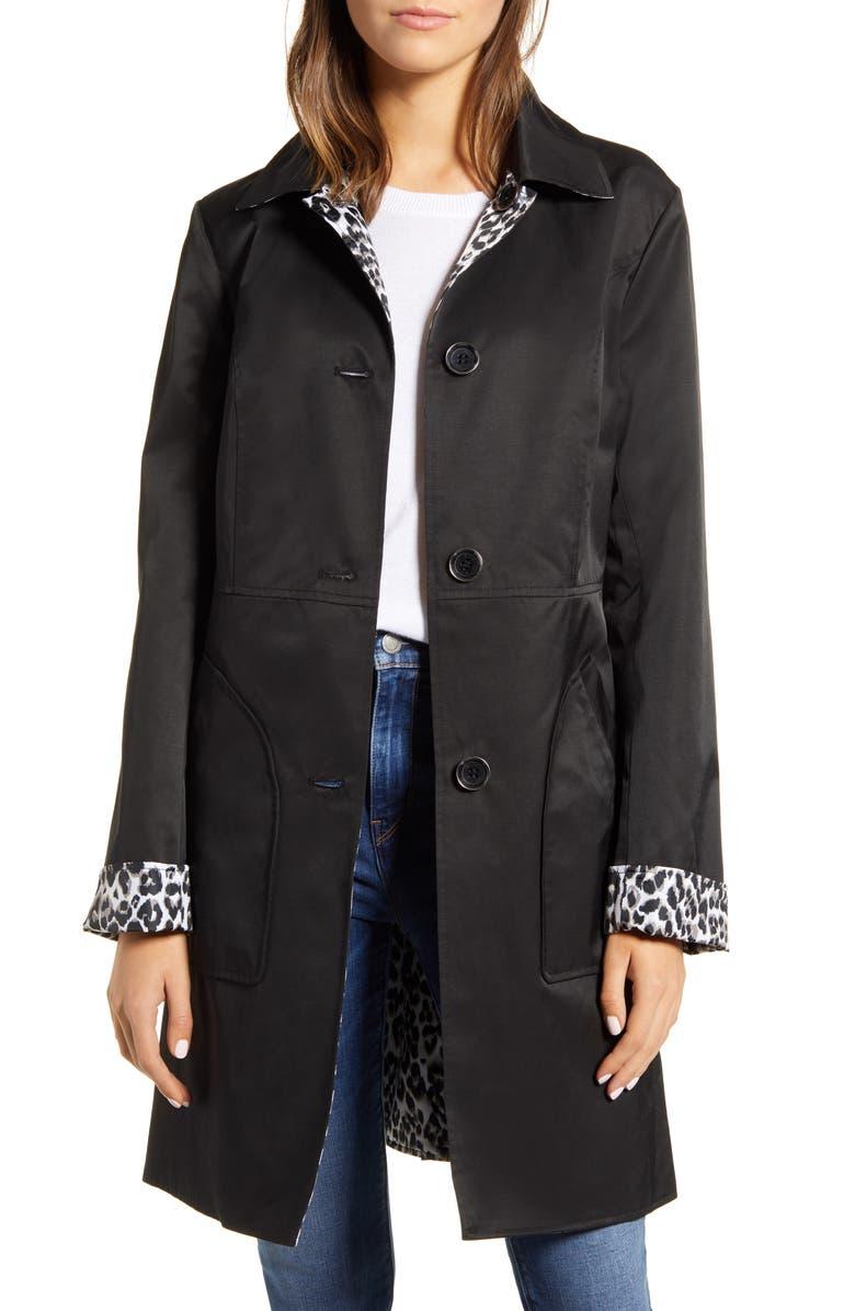 VIA SPIGA Reversible Raincoat, Main, color, BLK/ LEOPARD