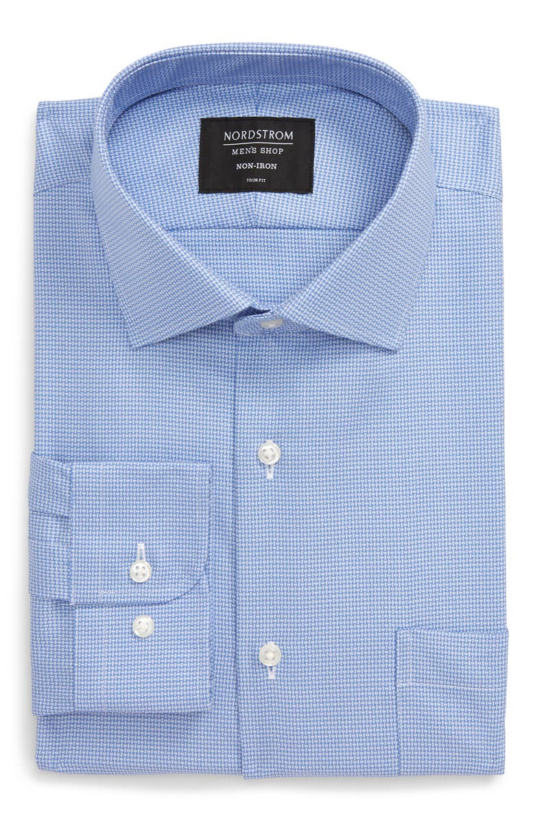 NORDSTROM MEN'S SHOP Trim Fit Non-Iron Solid Dress Shirt, Main, color, BLUE FRENCH
