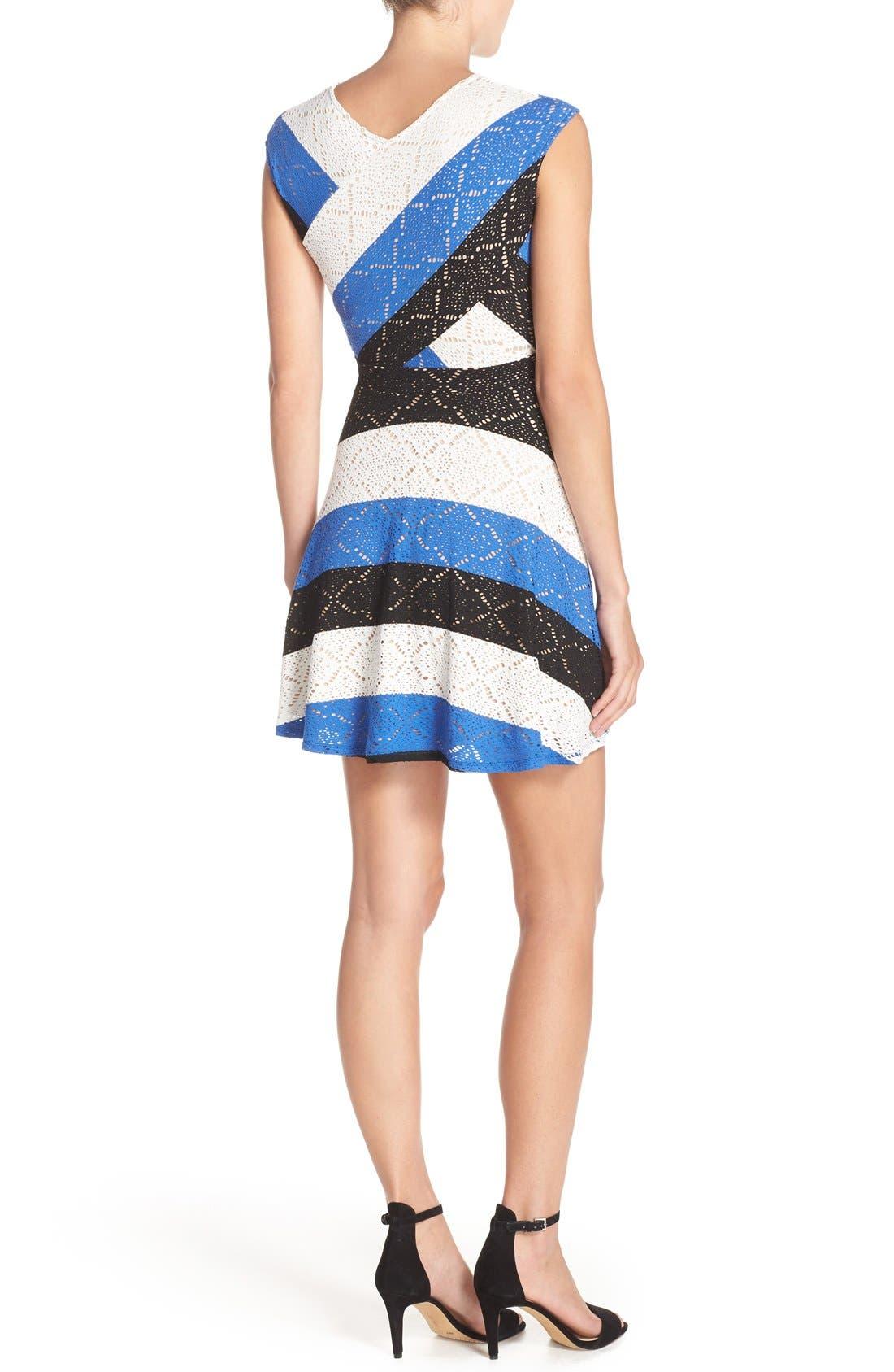 ,                             'Jasmyne' Stripe Lace Dress,                             Alternate thumbnail 6, color,                             475