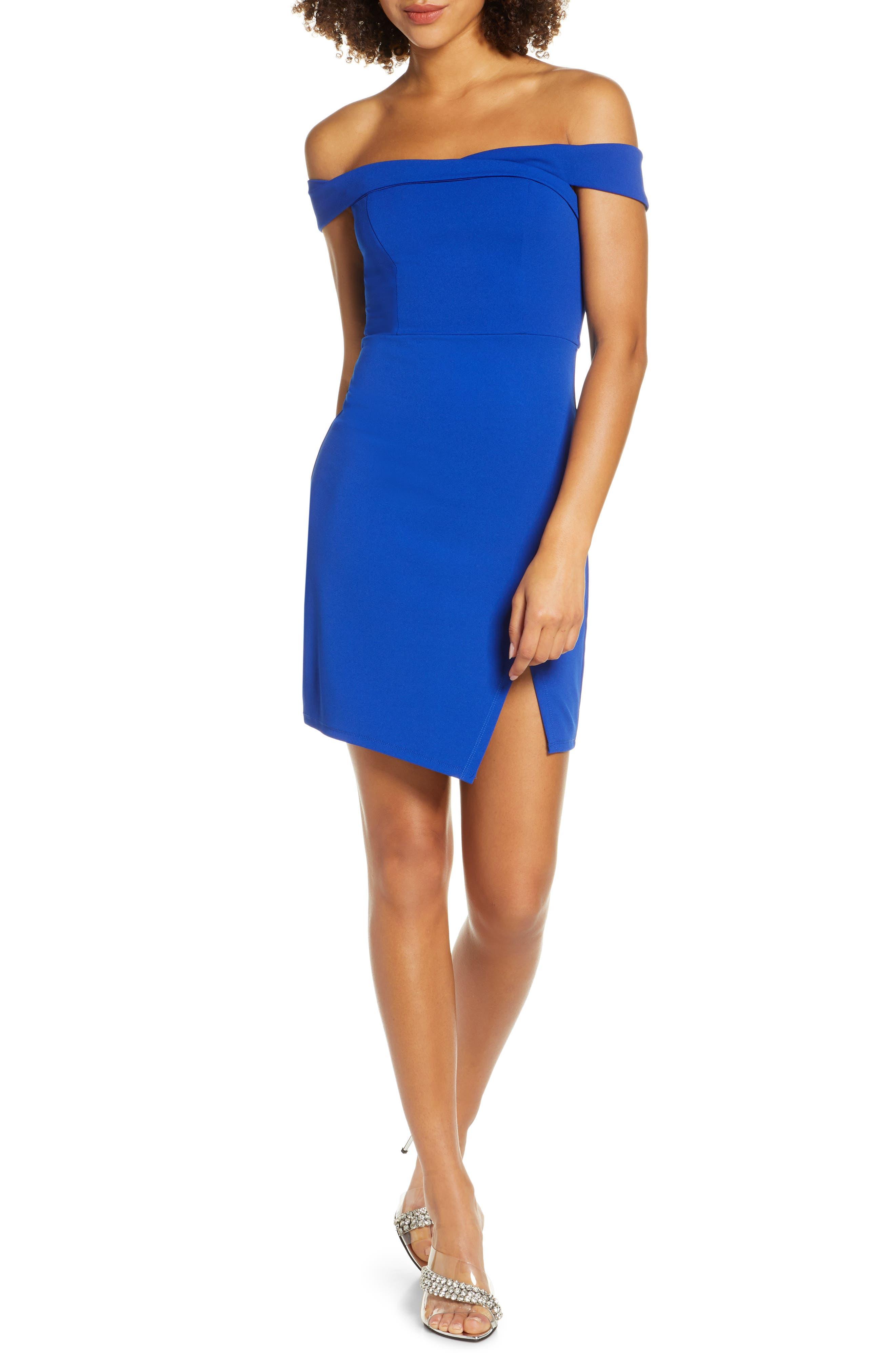 Sequin Hearts Scuba Crepe Off The Shoulder Minidress, Blue