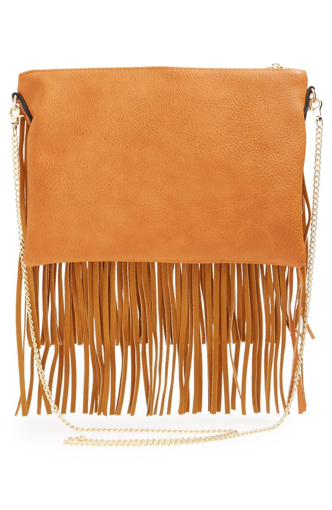 ,                             'Rose' Fringe Faux Leather Convertible Crossbody Bag,                             Alternate thumbnail 9, color,                             200