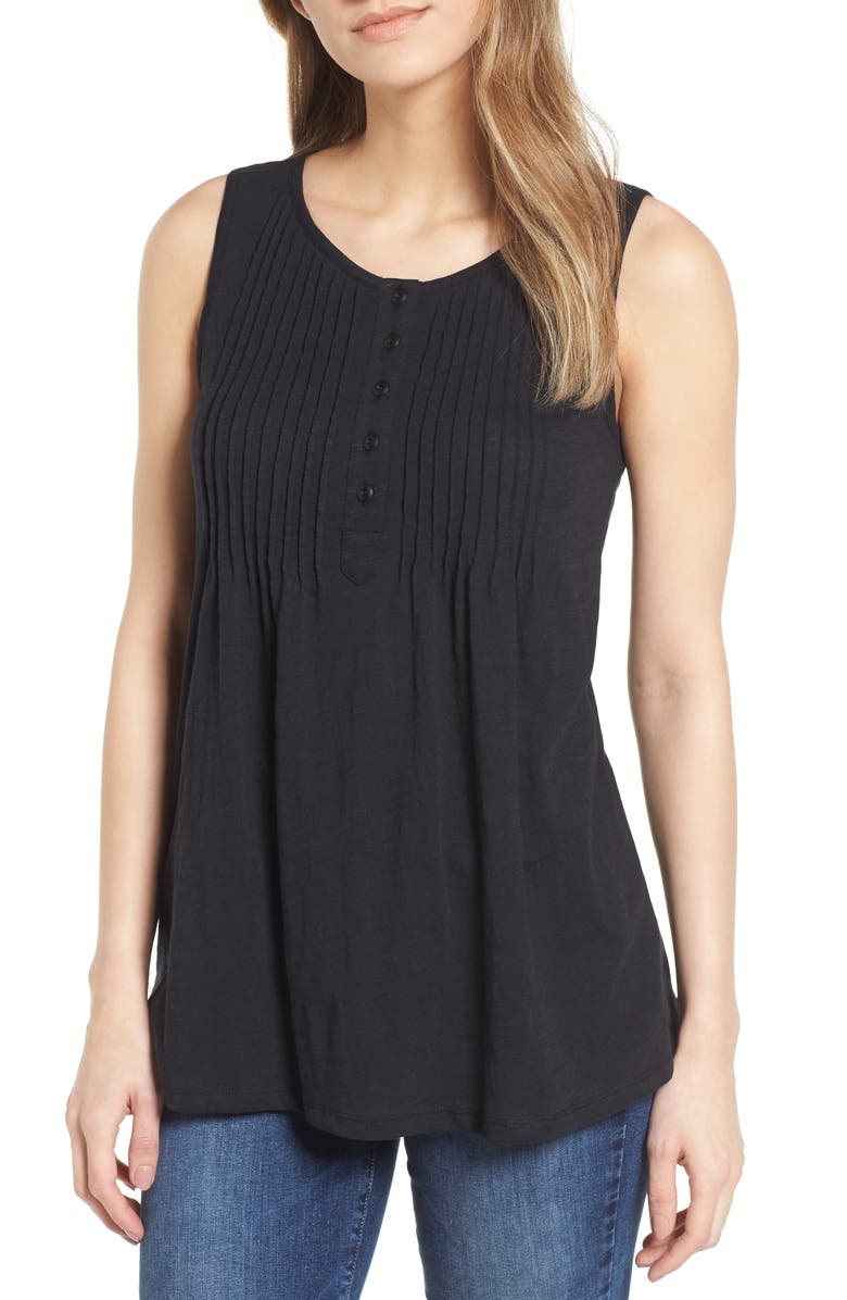 CASLON<SUP>®</SUP> Pintuck Knit Tank, Main, color, 001