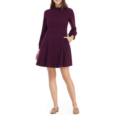 Gal Meets Glam Collection Valentina Bow Detail Long Sleeve Fit & Flare Sweater Dress, Burgundy
