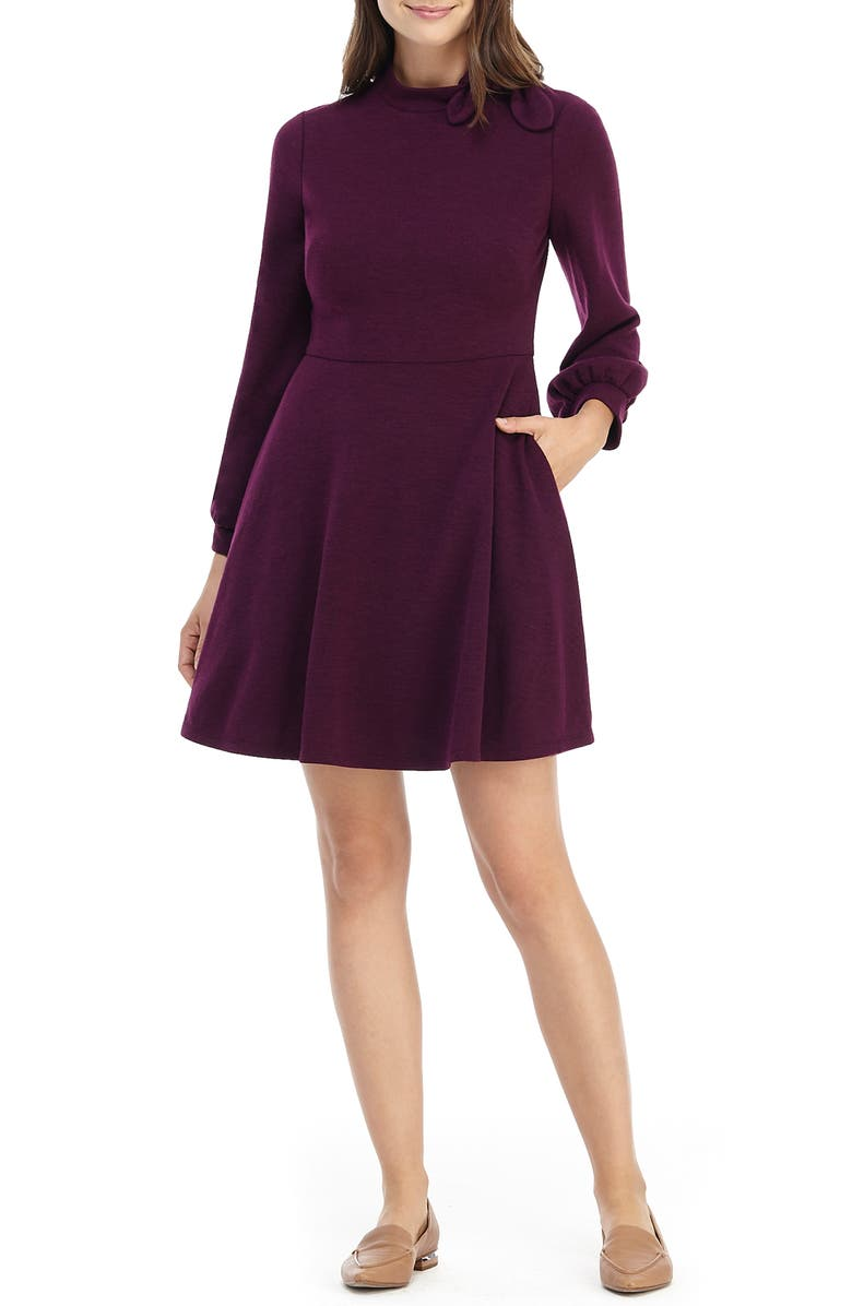 GAL MEETS GLAM COLLECTION Valentina Bow Detail Long Sleeve Fit & Flare Sweater Dress, Main, color, 930
