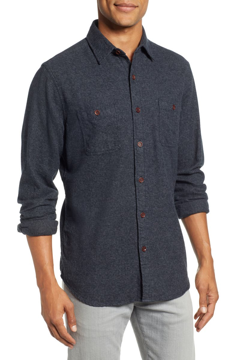 FAHERTY Seasons Organic Cotton Flannel Sport Shirt, Main, color, WASHED BLACK