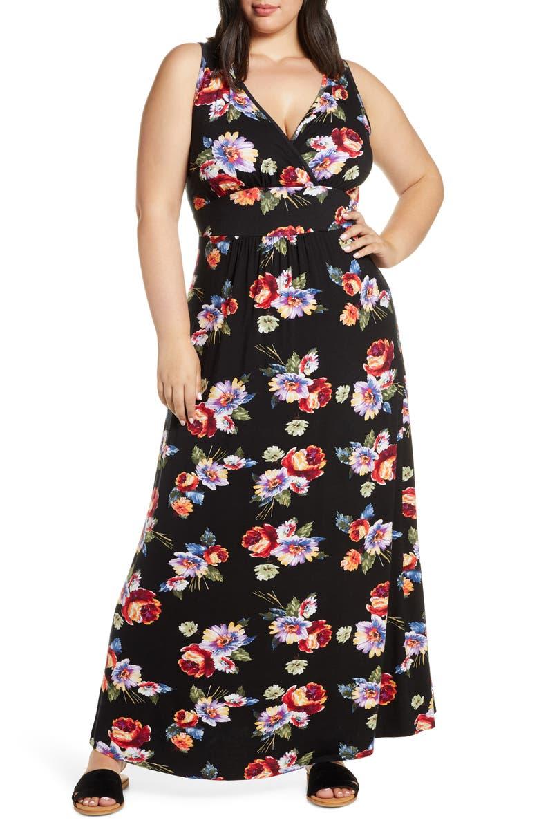LOVEAPPELLA Floral Halter Neck Maxi Dress, Main, color, 001