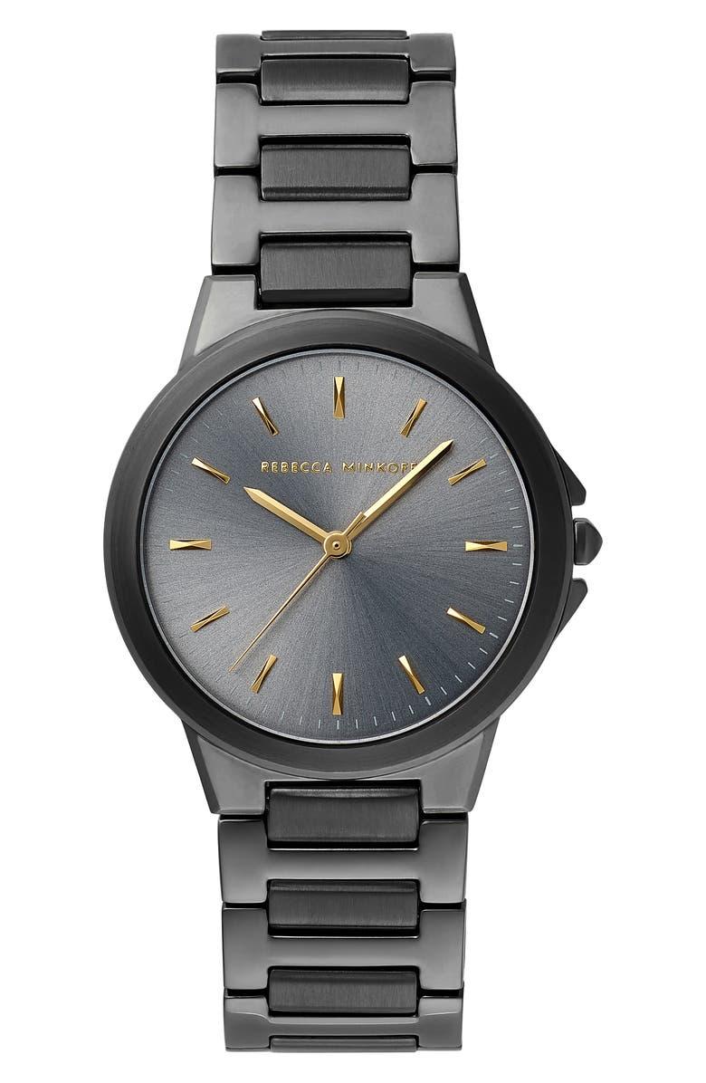 REBECCA MINKOFF Cali Bracelet Watch, 34mm, Main, color, GUNMETAL