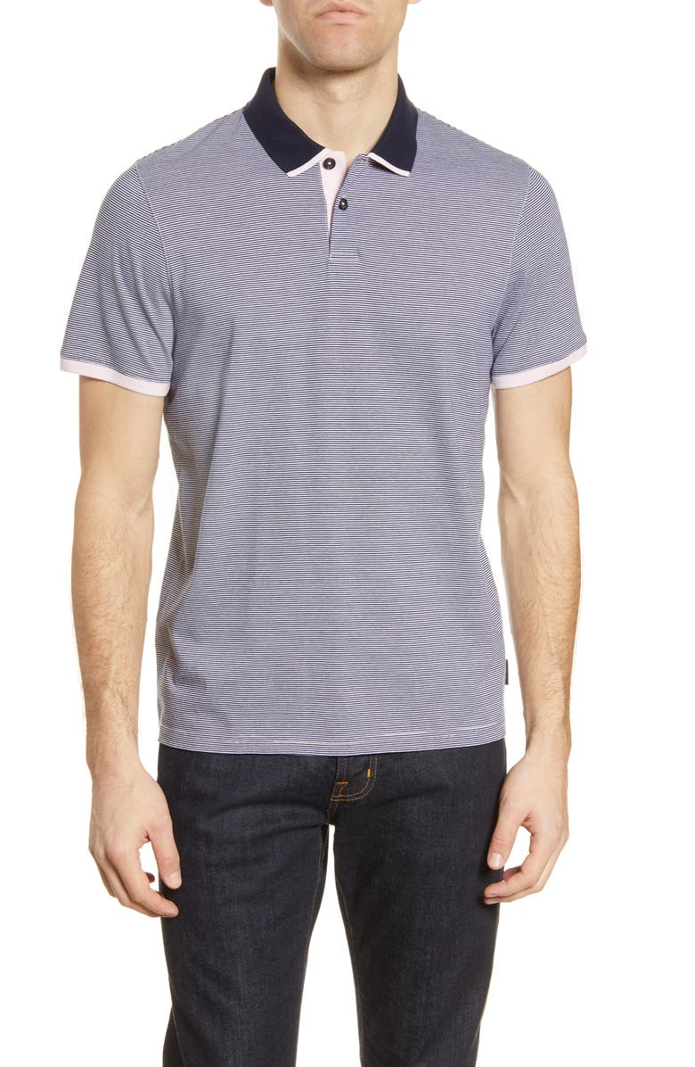 TED BAKER LONDON Caffine Slim Fit Stripe Contrast Collar Polo, Main, color, NAVY