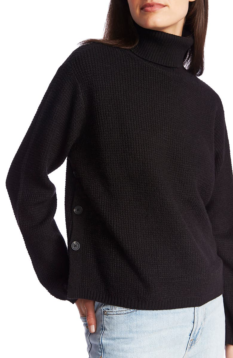1.STATE Side Button Waffle Weave Turtleneck Sweater, Main, color, RICH BLACK