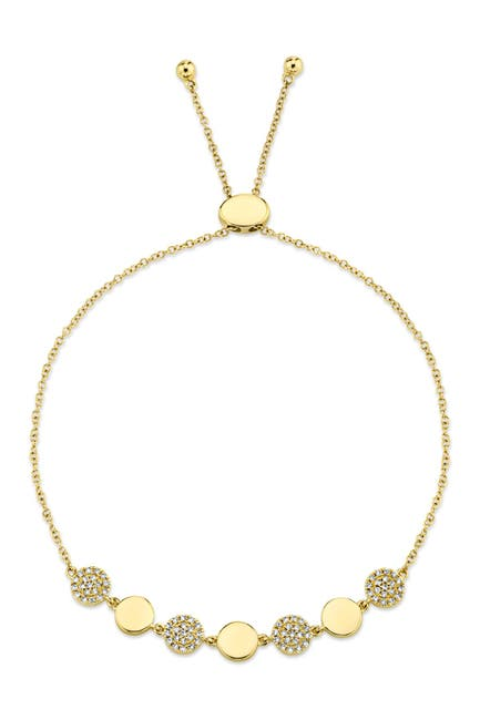 Image of Ron Hami 14K Yellow Gold Diamond Pave Circle Bolo Bracelet - 0.2 ctw