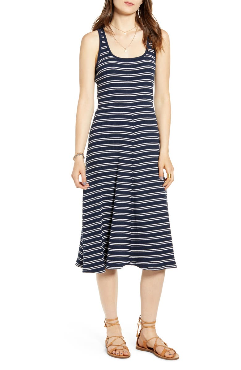 TREASURE & BOND Stripe Tank Midi Dress, Main, color, NAVY NIGHT MINNIE STRIPE