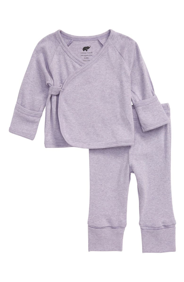 MONICA + ANDY Hello Baby Wrap Top & Pants Set, Main, color, PURPLE HEATHER