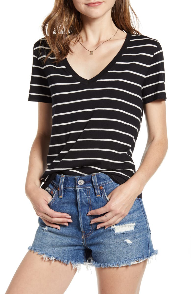 BP Stripe V Neck Tee