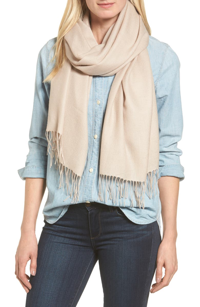 NORDSTROM Tissue Weight Wool & Cashmere Scarf, Main, color, TAN MEMOIR