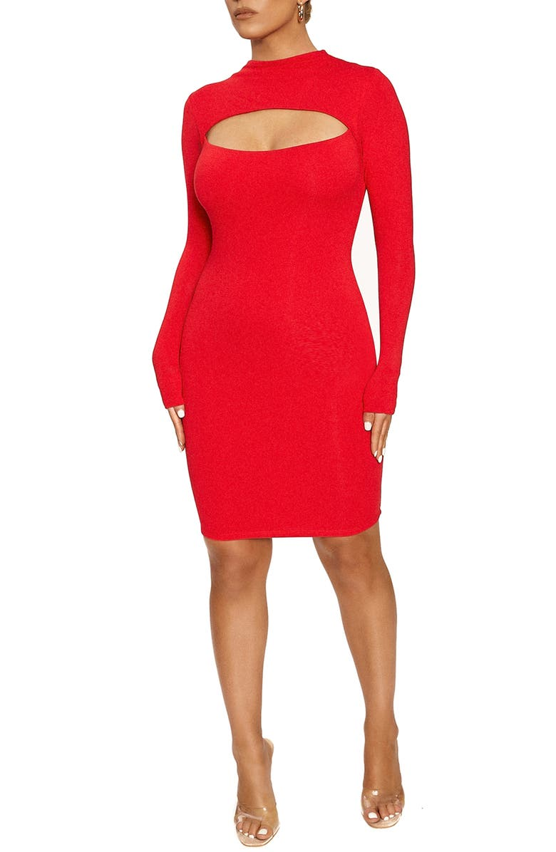 NAKED WARDROBE Cutout Long Sleeve Minidress, Main, color, RED