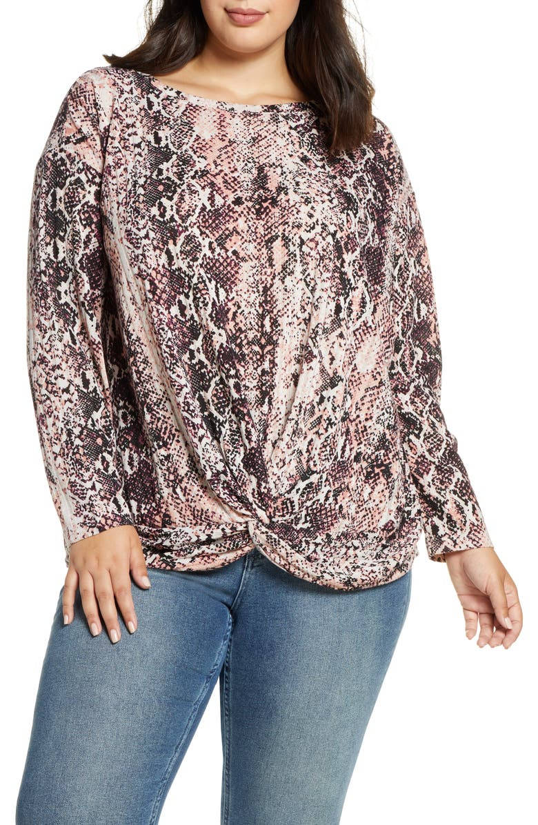 SINGLE THREAD Knot Front Snake Top, Main, color, MELLOW ROSE