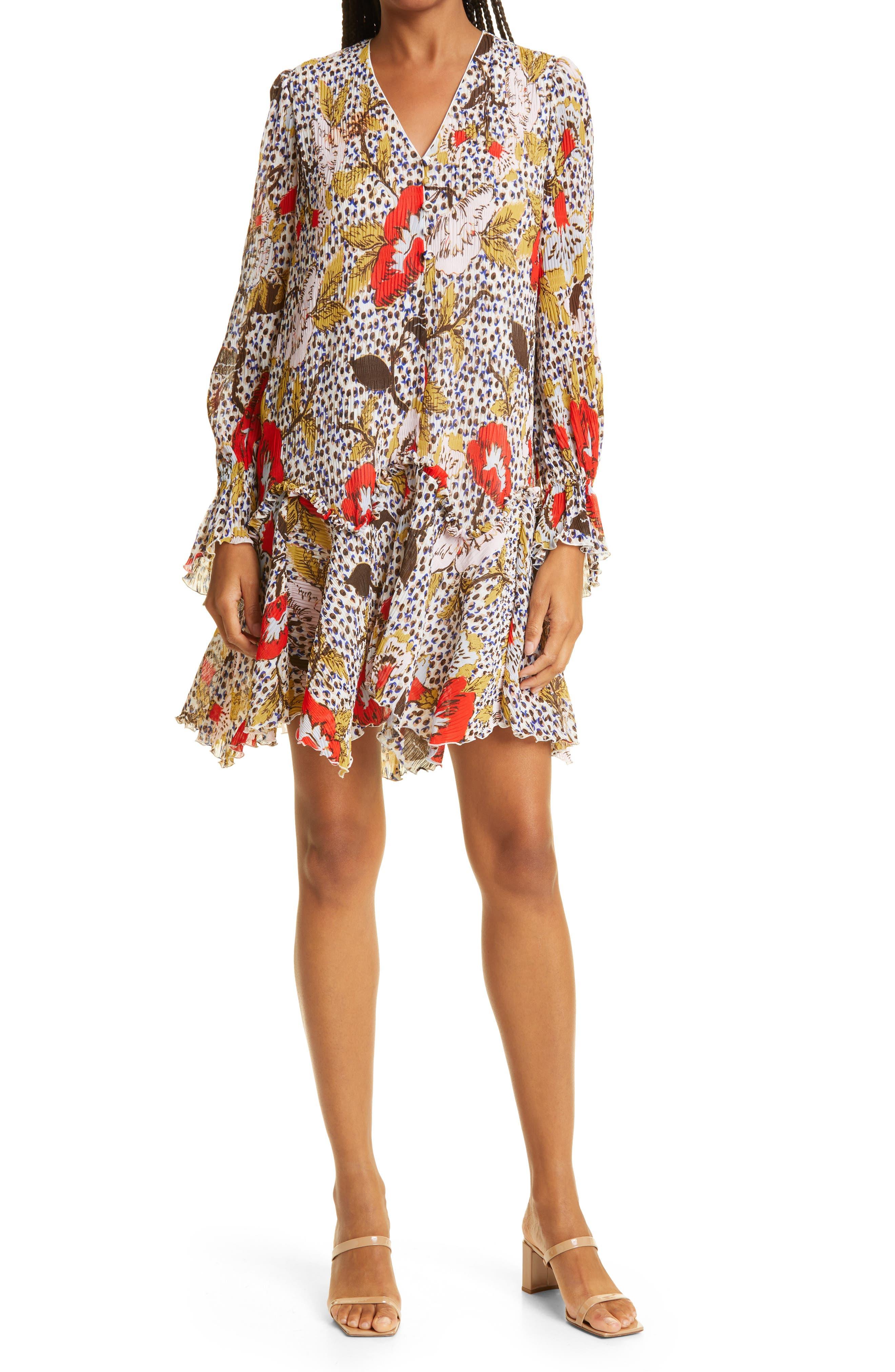 Kacie Mixed Print Long Sleeve Chiffon Minidress