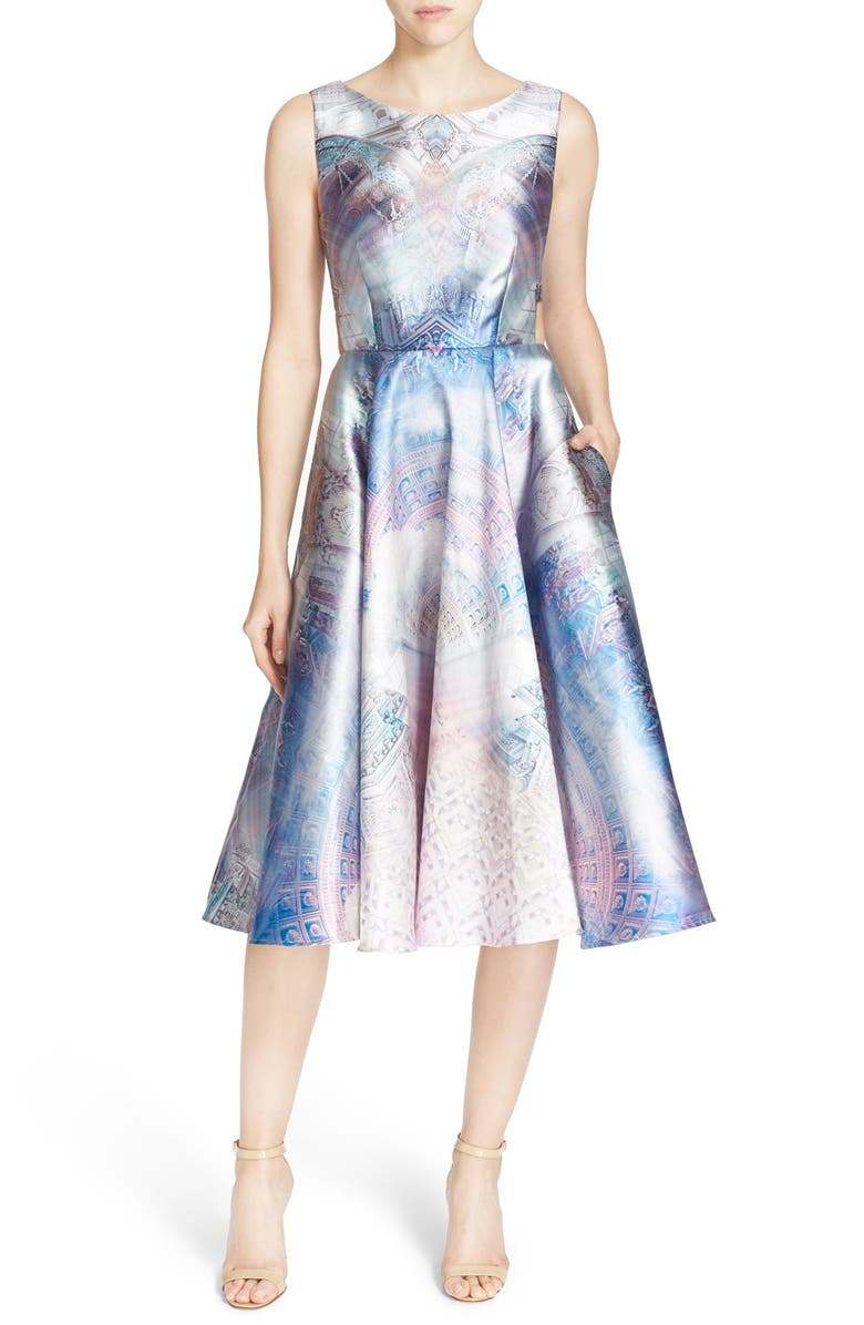 TED BAKER LONDON 'Larin' Print Fit & Flare Dress, Main, color, 531