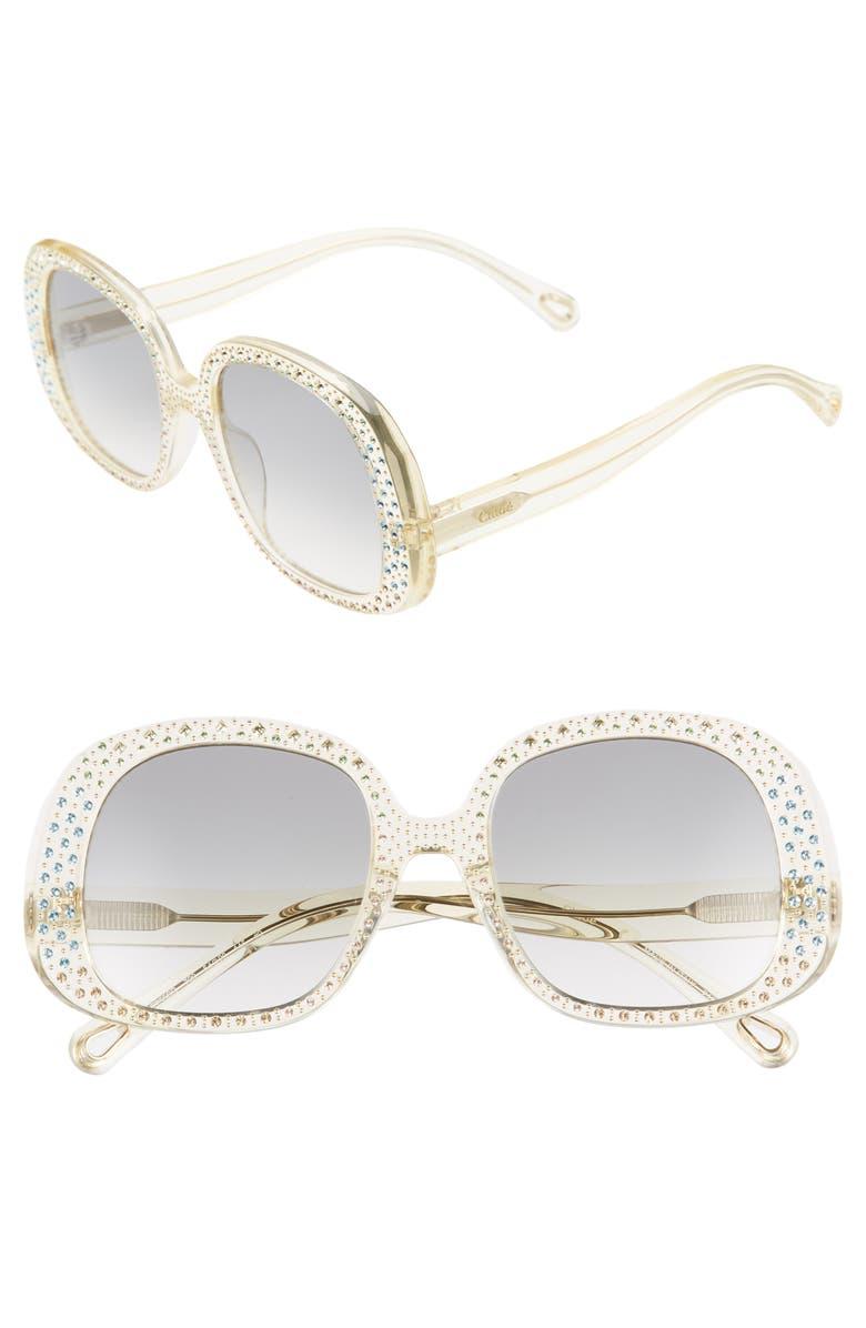 CHLOÉ Chiara 54mm Rectangular Sunglasses, Main, color, 700