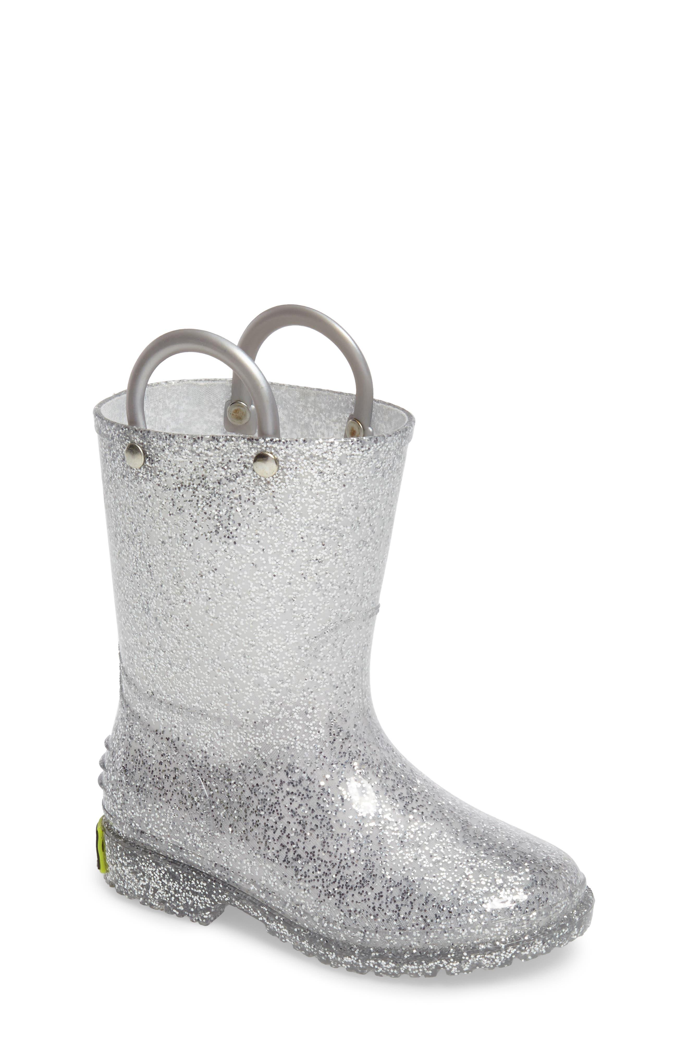 ,                             Glitter Waterproof Rain Boot,                             Main thumbnail 1, color,                             SILVER