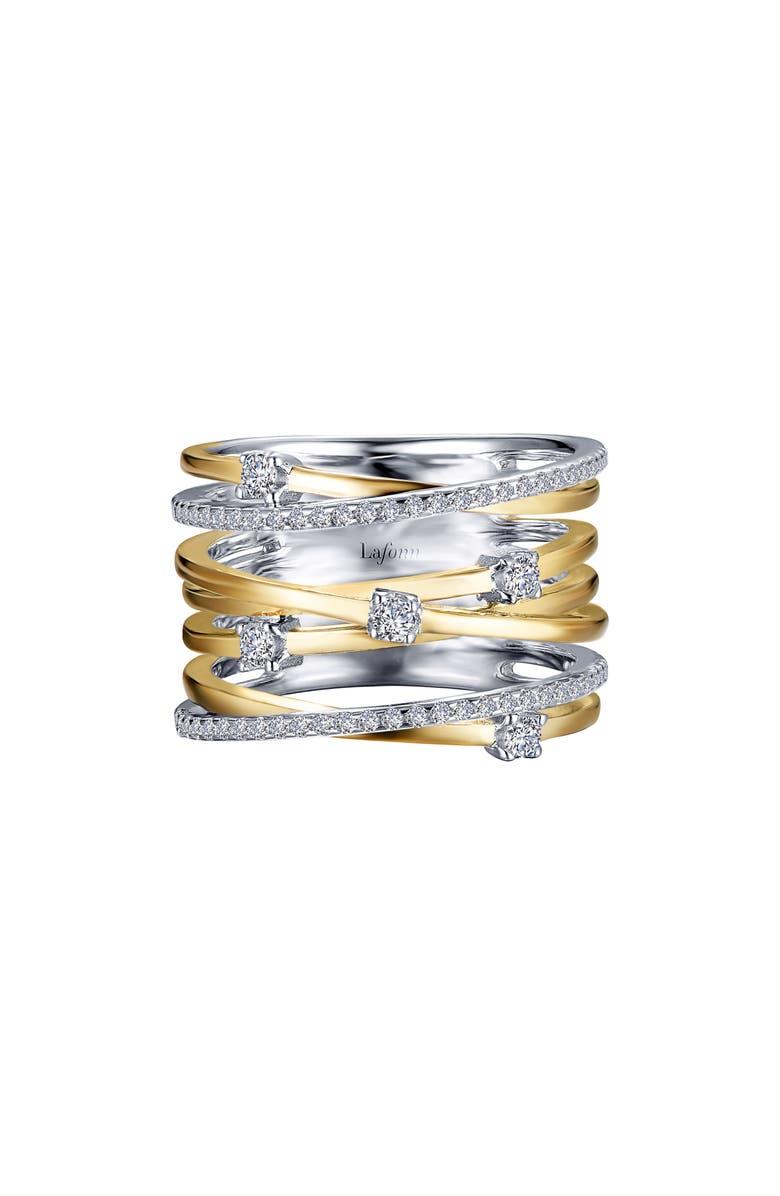 LAFONN Simulated Diamond Crisscross Ribbon Ring, Main, color, GOLD/SILVER/CLEAR