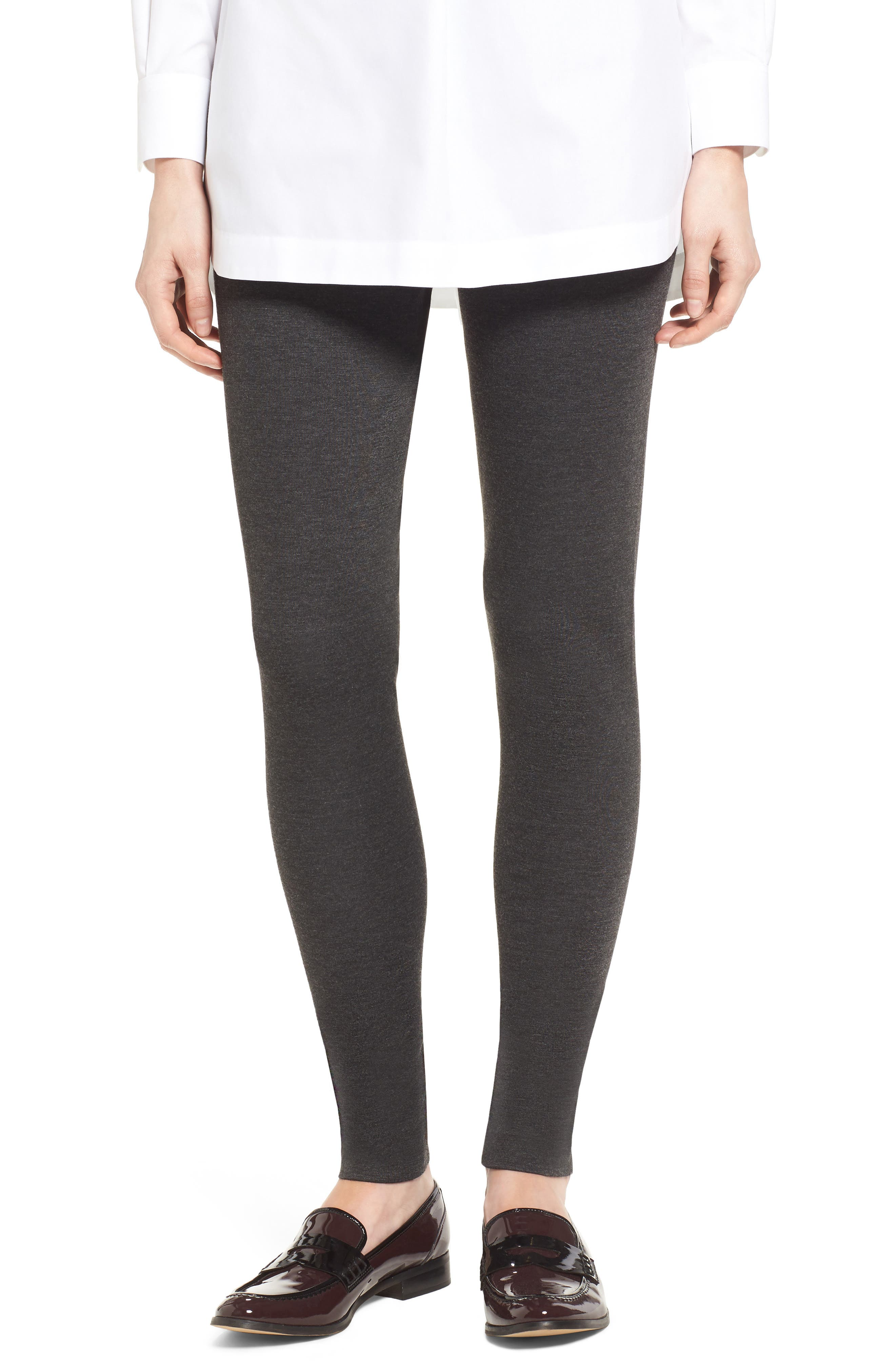 Petite Two By Vince Camuto Seamed Back Leggings, Grey