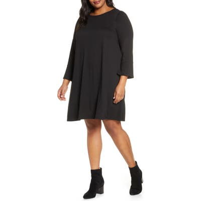 Plus Size Eileen Fisher Bell Cuff Tencel Lyocell Blend Jersey Dress, Black
