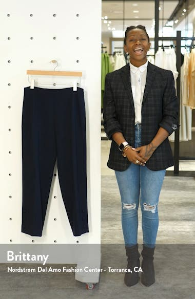 Button Hem Wool Blend Straight Leg Pants, sales video thumbnail