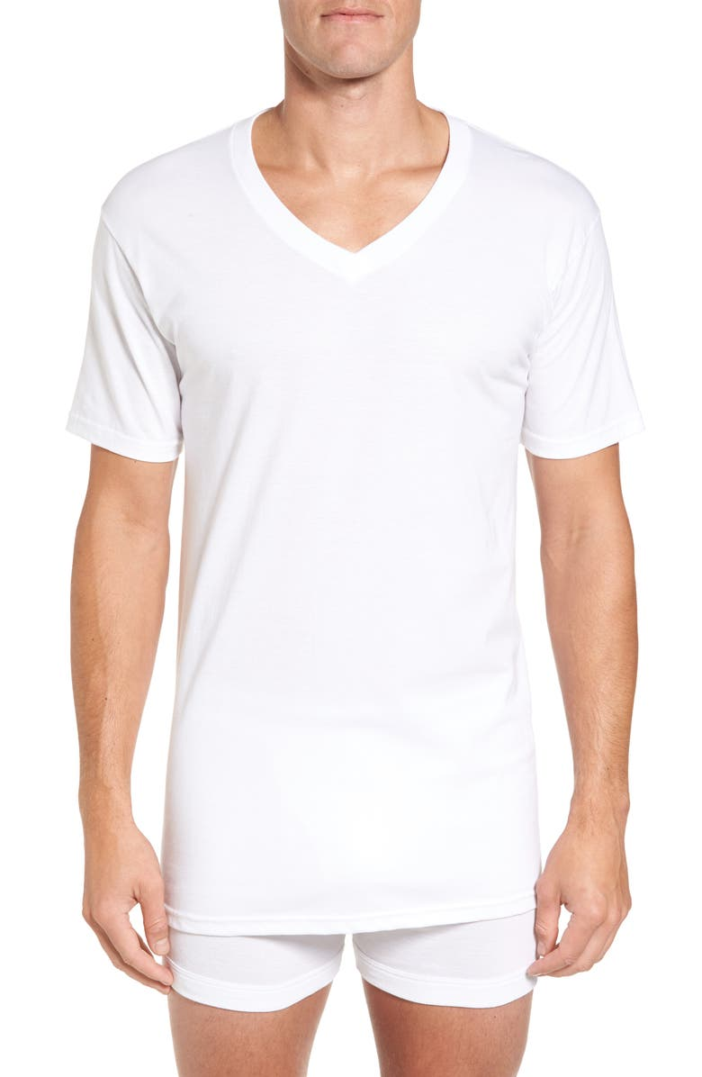 NORDSTROM MEN'S SHOP 4-Pack Regular Fit Supima<sup>®</sup> Cotton V-Neck T-Shirts, Main, color, WHITE