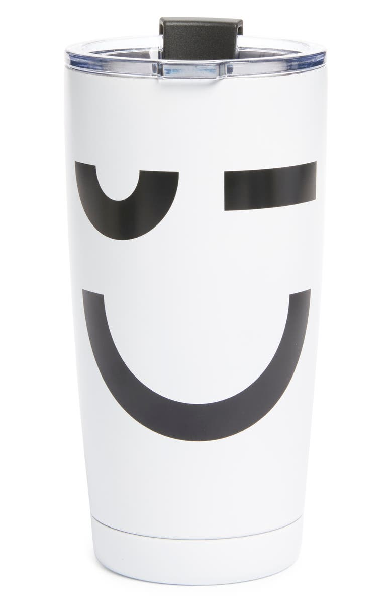 NORDSTROM Reusable Coffee Tumbler, Main, color, WHITE PLACED SMILE