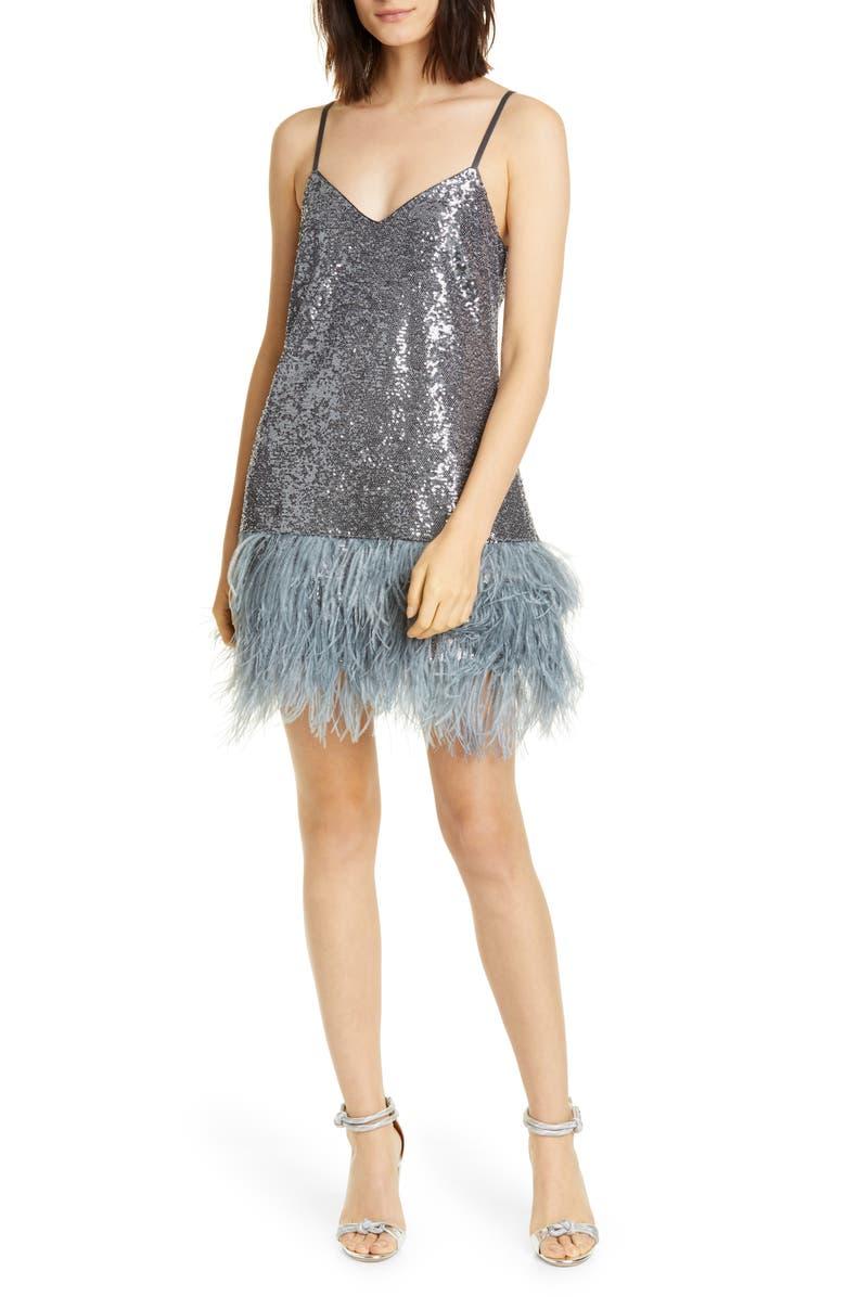 CINQ À SEPT Athena Feather Hem Sequin Dress, Main, color, GUNMETAL/ GUNMETAL