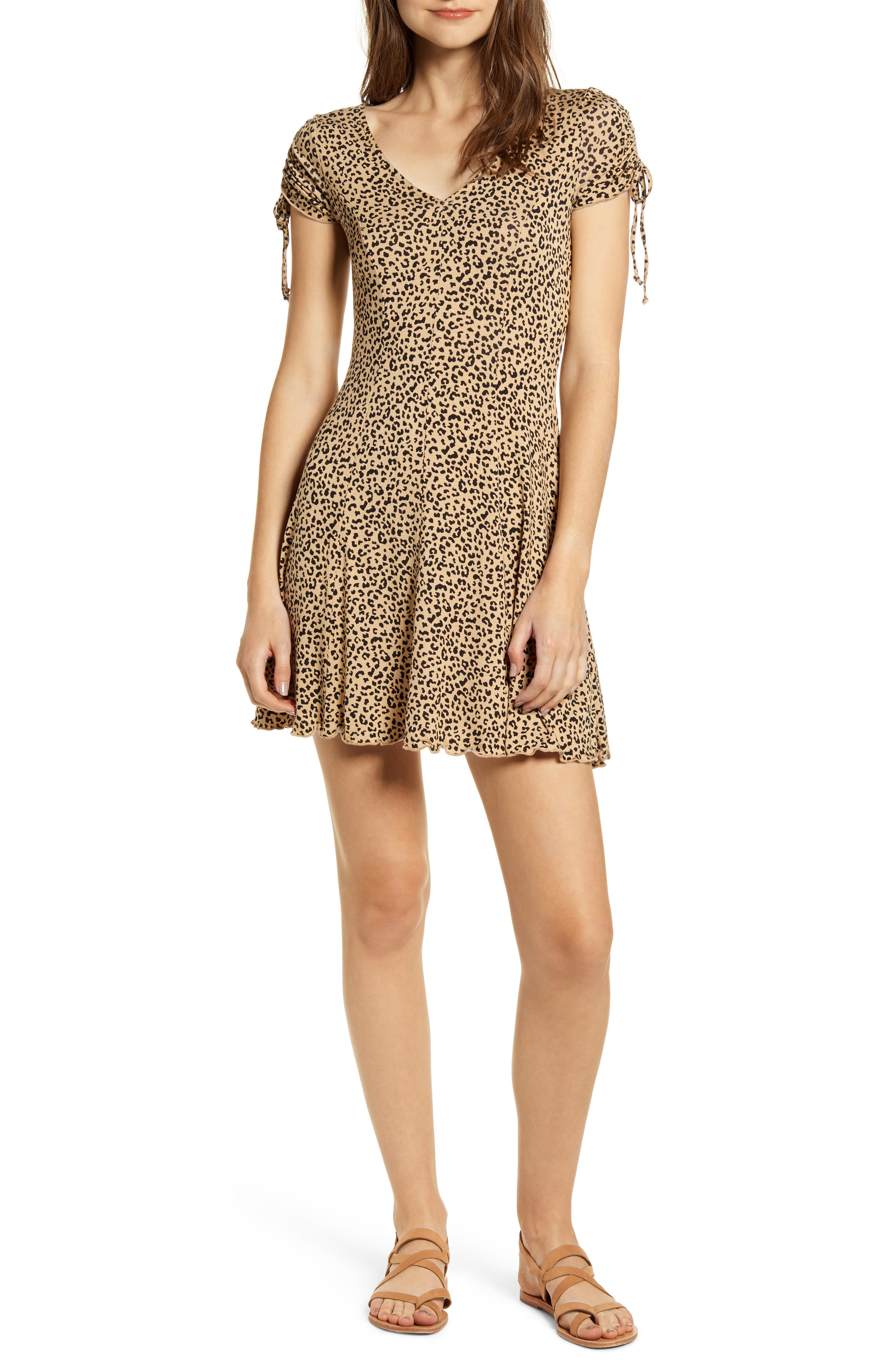 Love, Fire Leopard Print Ruched Minidress, Brown