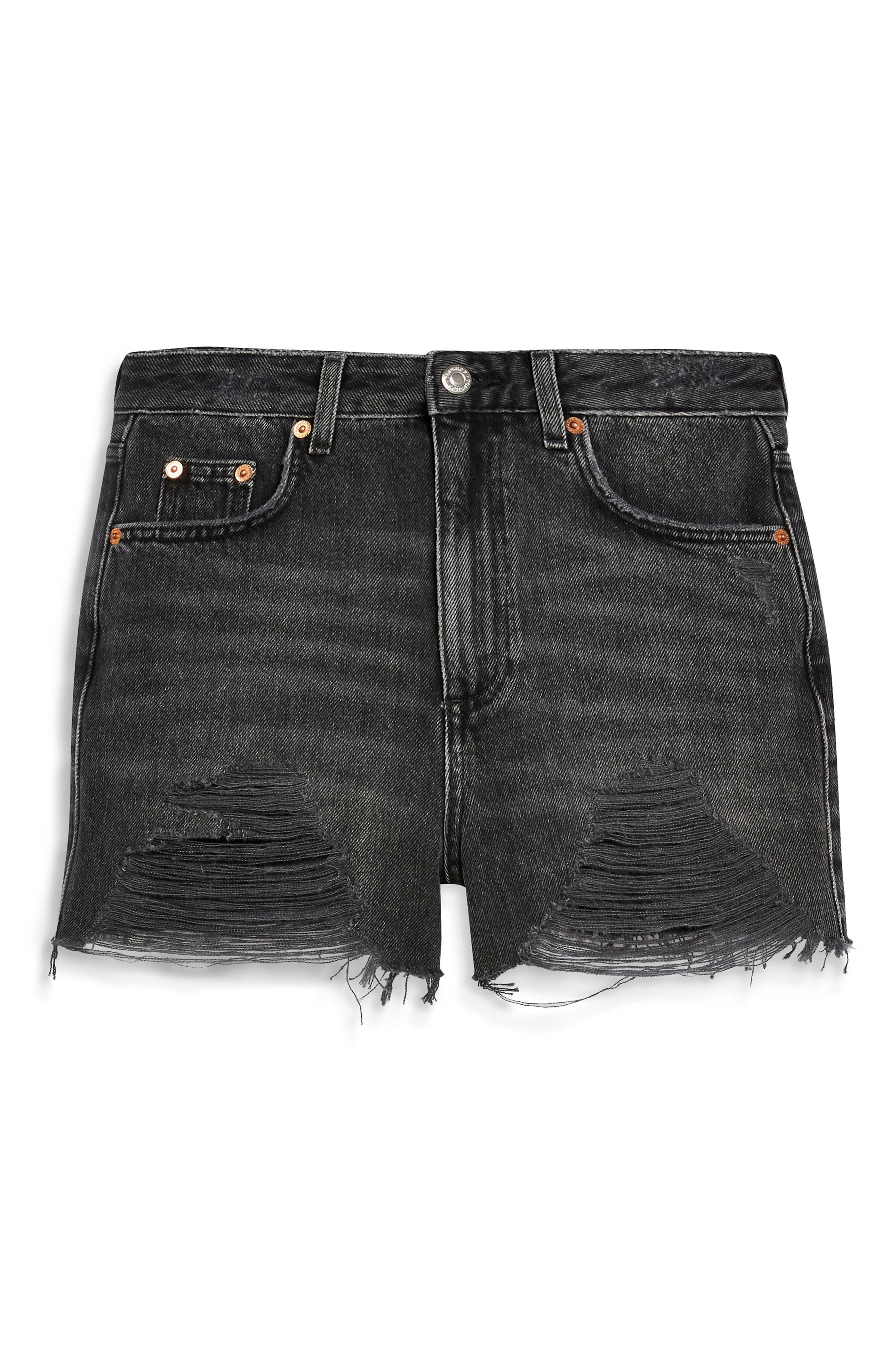 ,                             Ripped Mom Denim Shorts,                             Alternate thumbnail 5, color,                             WASHED BLACK