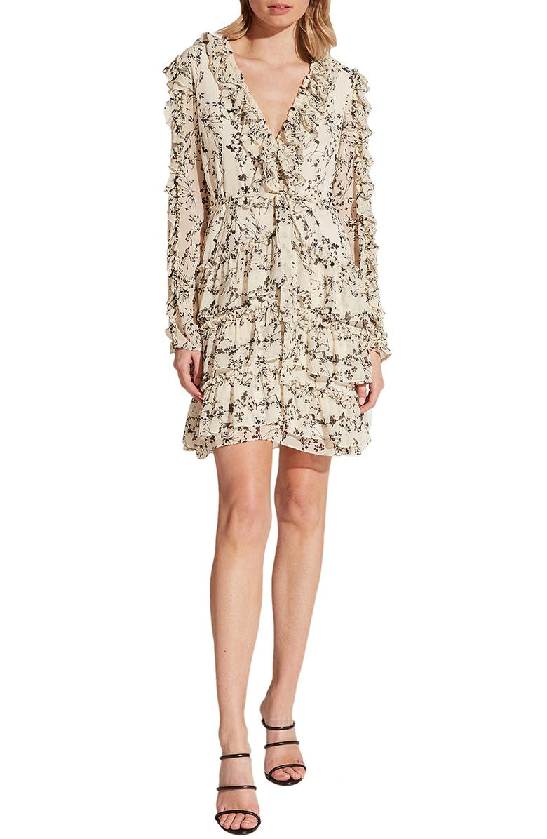 BARDOT Alessia Long Sleeve Tiered Ruffle Minidress, Main, color, DAINTY FLORAL