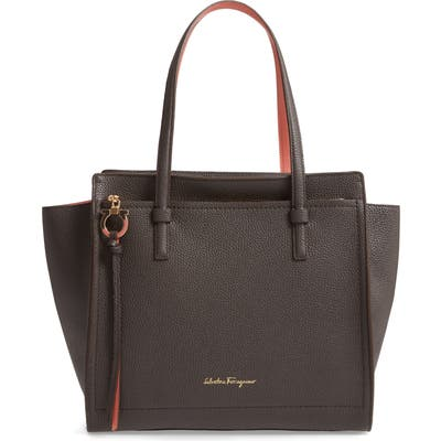 Salvatore Ferragamo Amy Double Handle Leather Bag - Grey
