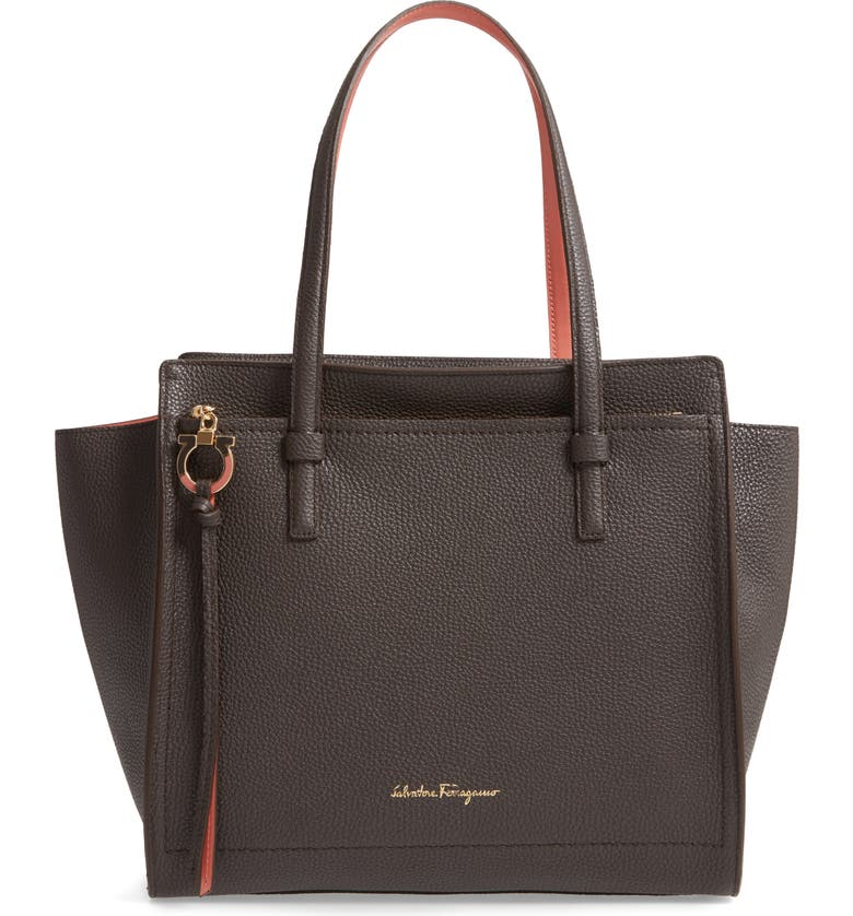 SALVATORE FERRAGAMO Amy Double Handle Leather Bag, Main, color, FLANNEL/ GRANITA
