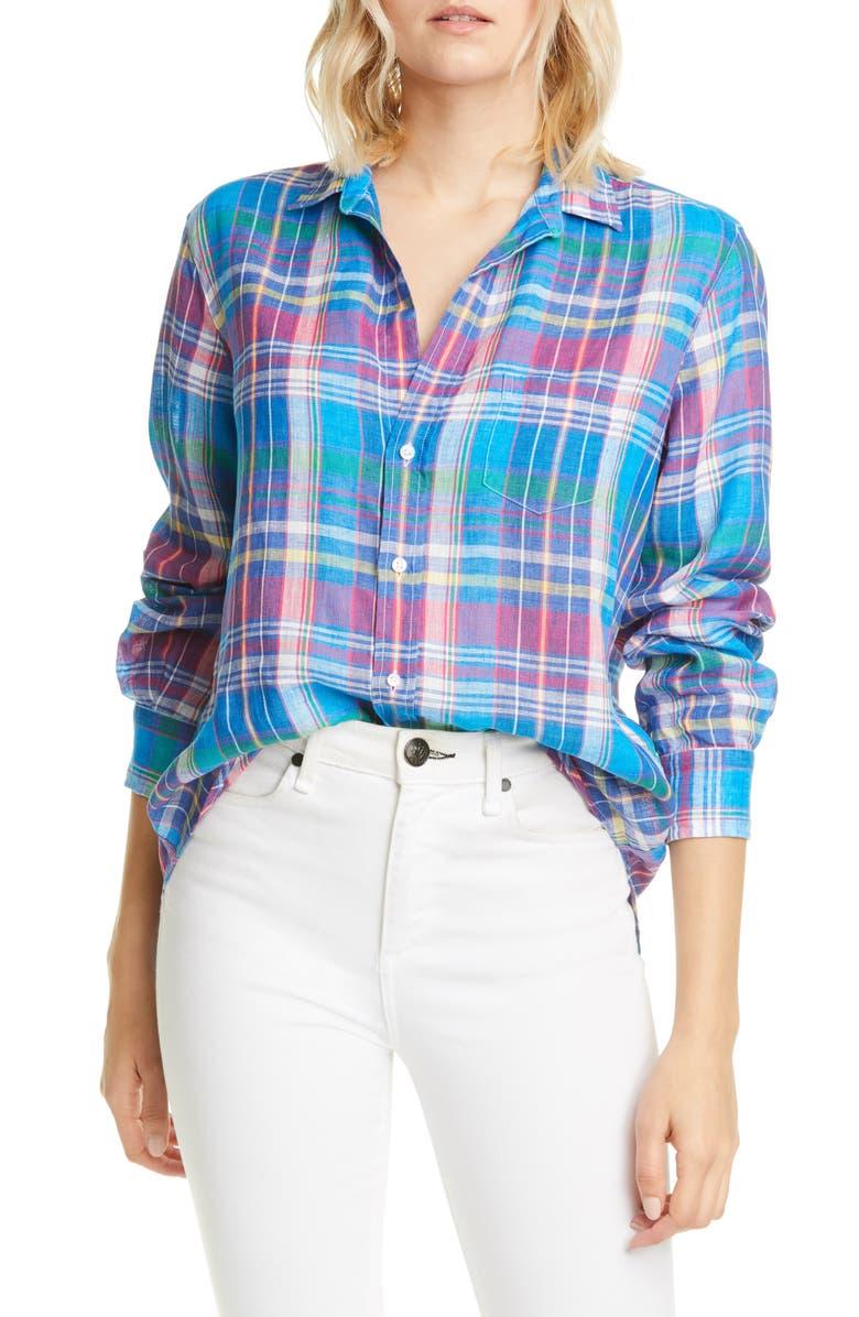 FRANK & EILEEN Plaid Linen Button-Up Shirt, Main, color, 400