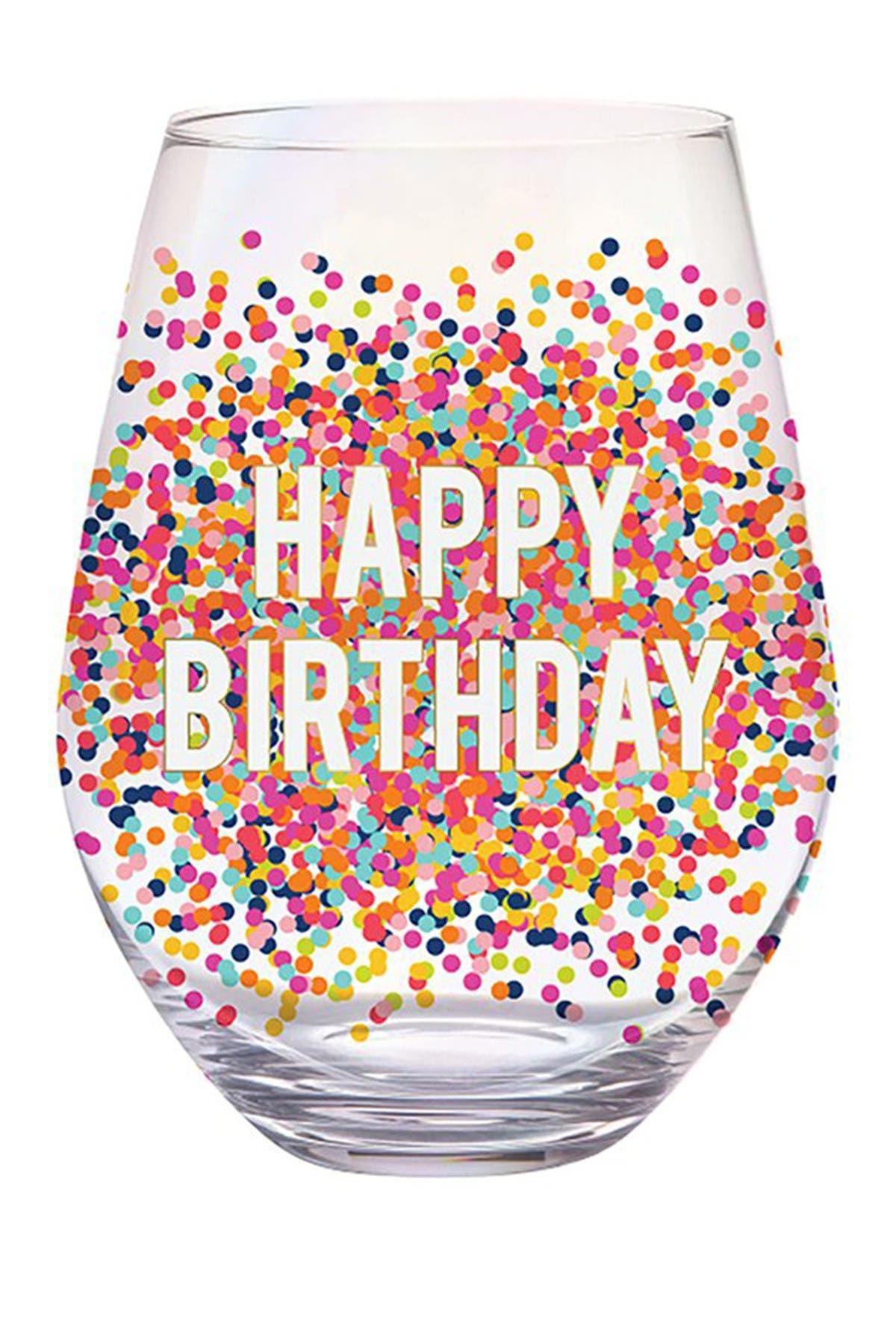 "Image of SLANT COLLECTIONS ""Happy Birthday"" Confetti Stemless Jumbo Wine Glass"