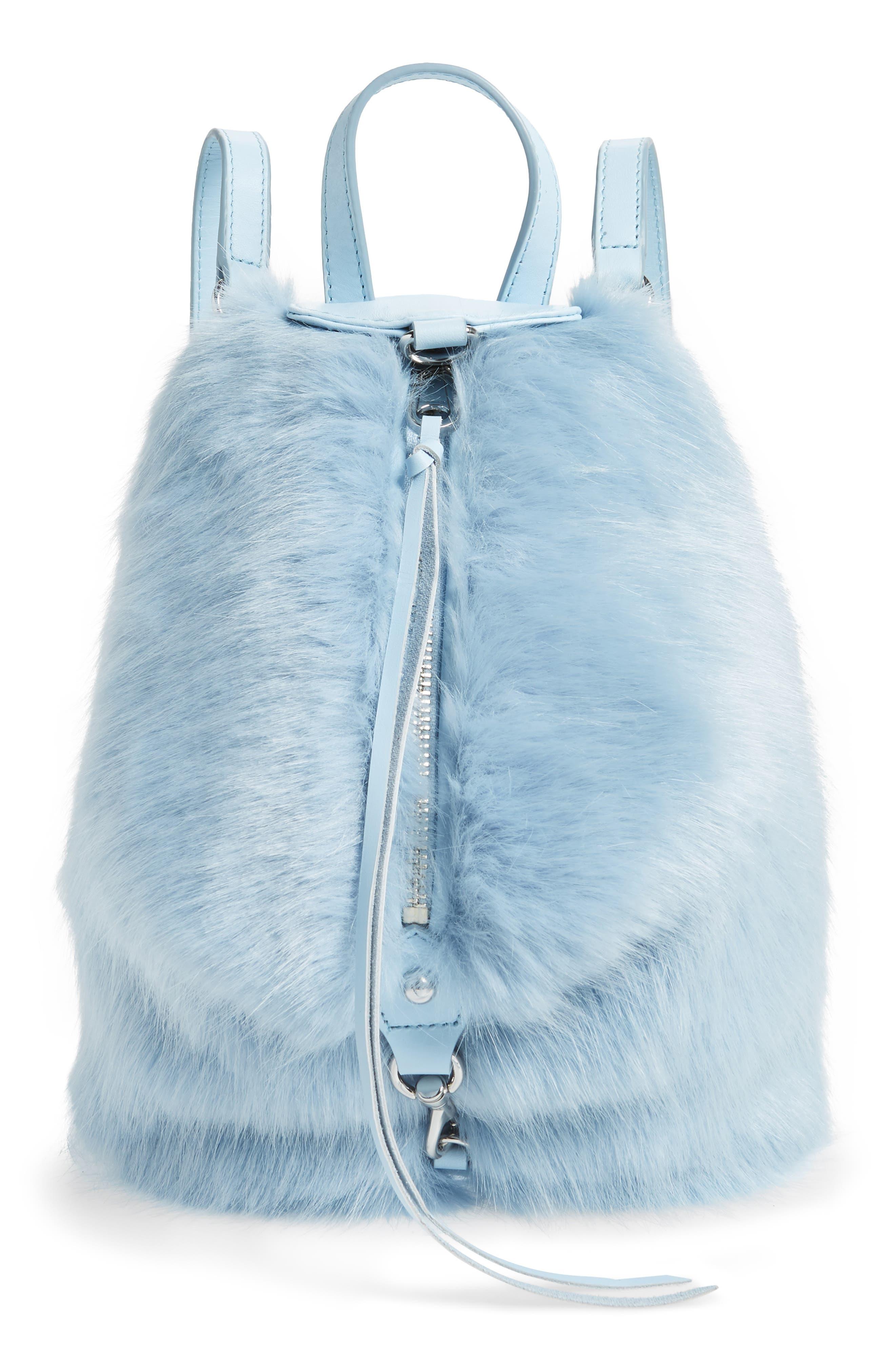 Image of Rebecca Minkoff Faux Fur Convertible Julian Mini Backpack