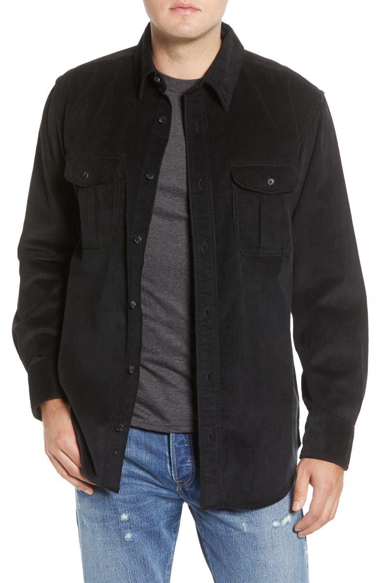 FILSON Regular Fit Button-Up Corduroy Shirt, Main, color, BLACK