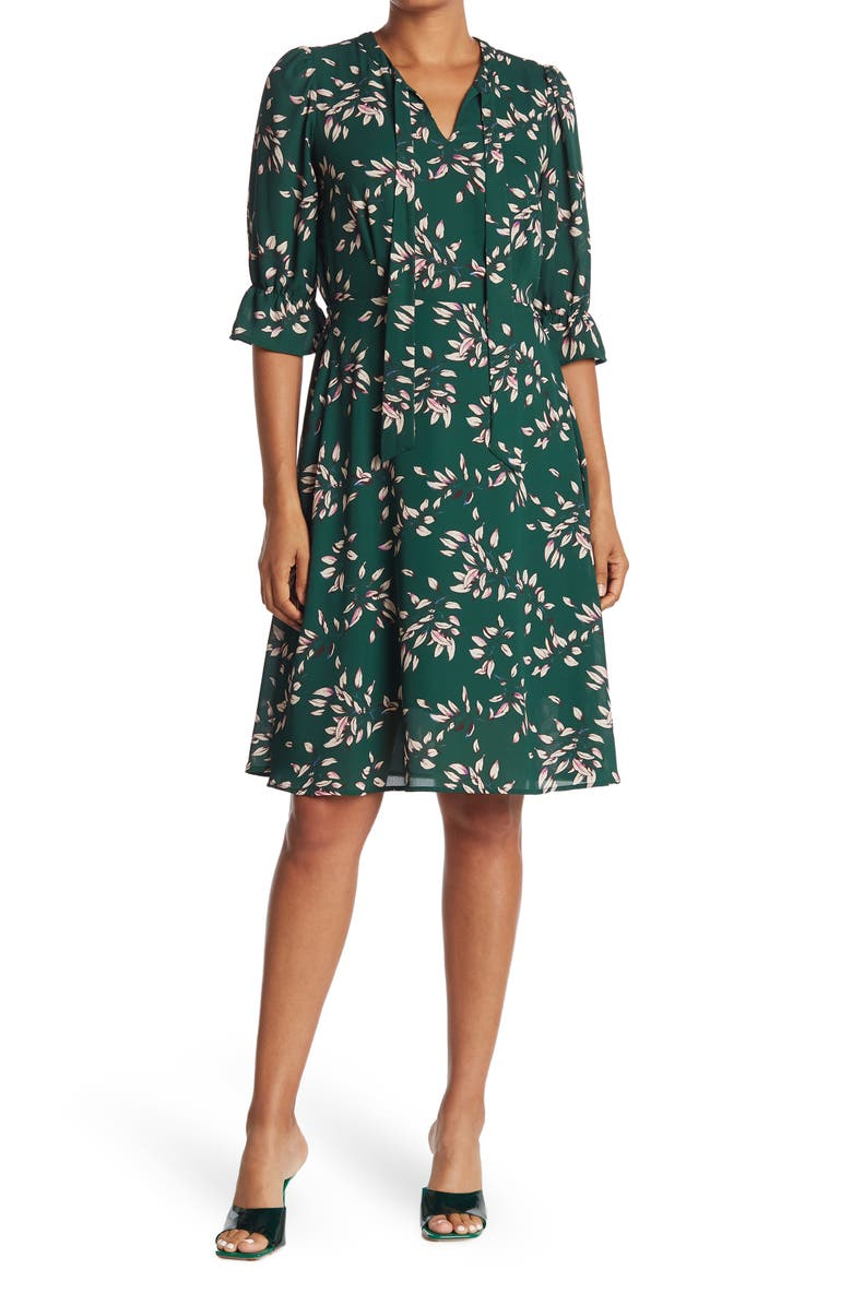 PLEIONE Printed Neck Tie Dress, Main, color, GREEN FOREST