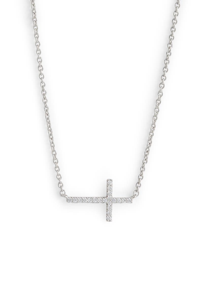 NADRI Cross Pendant Necklace, Main, color, 040