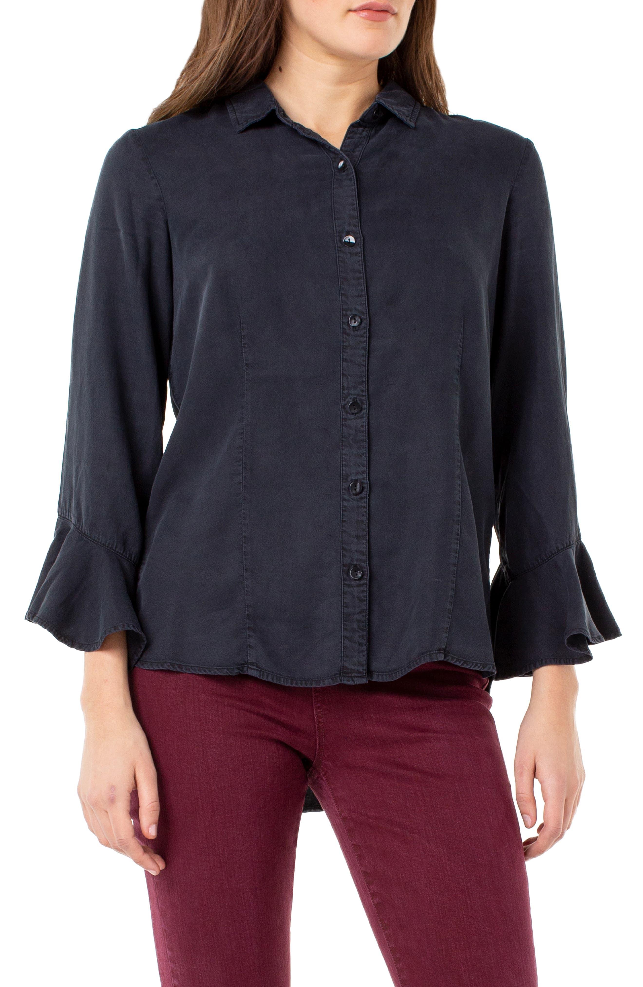 Ruffle Cuff Tencel Lyocell Shirt