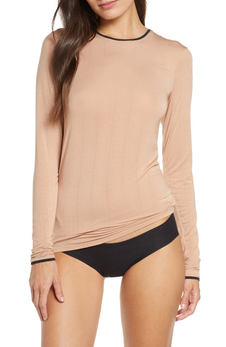 NEGATIVE UNDERWEAR Whipped Long Sleeve Tee, Main, color, BUFF/BLACK