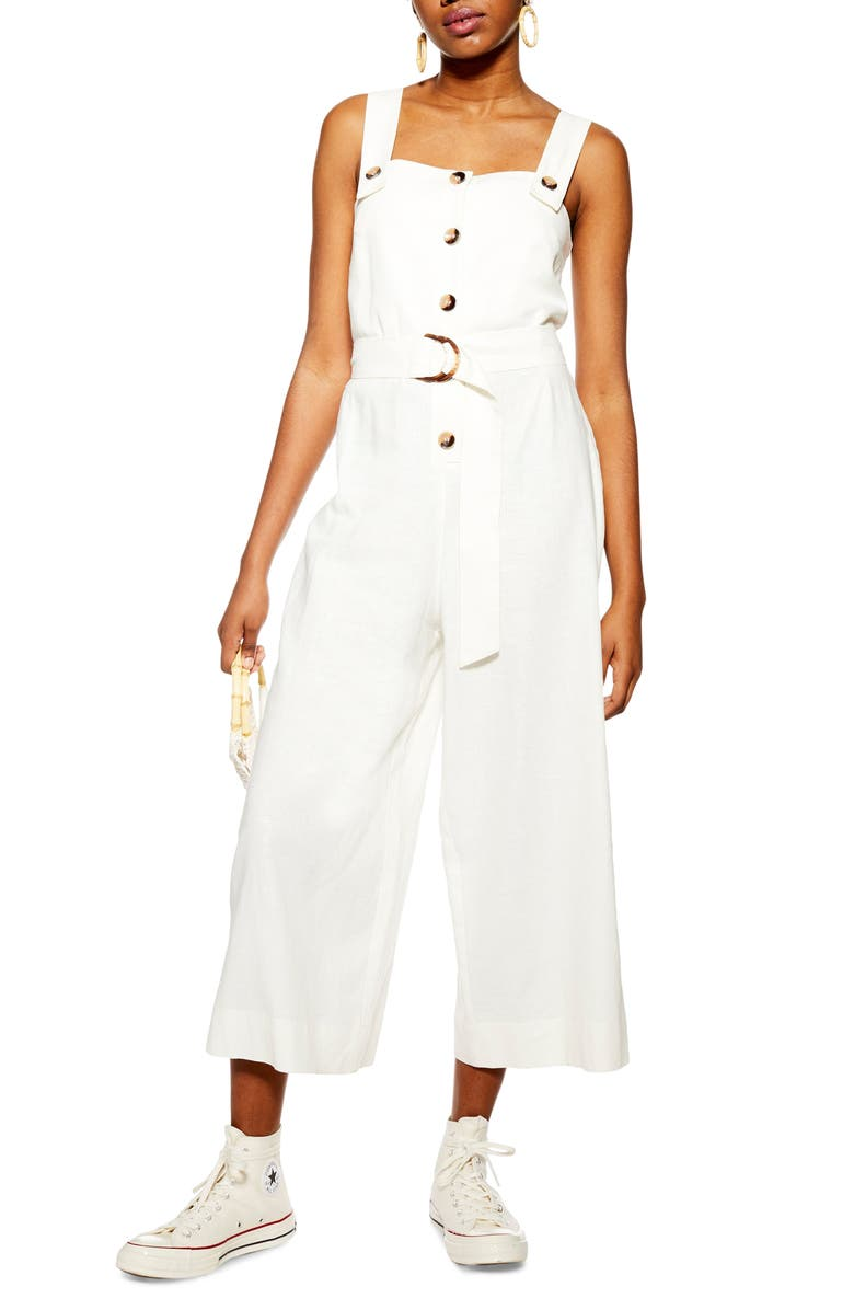 TOPSHOP Sleeveless Cropped Jumpsuit, Main, color, IVORY