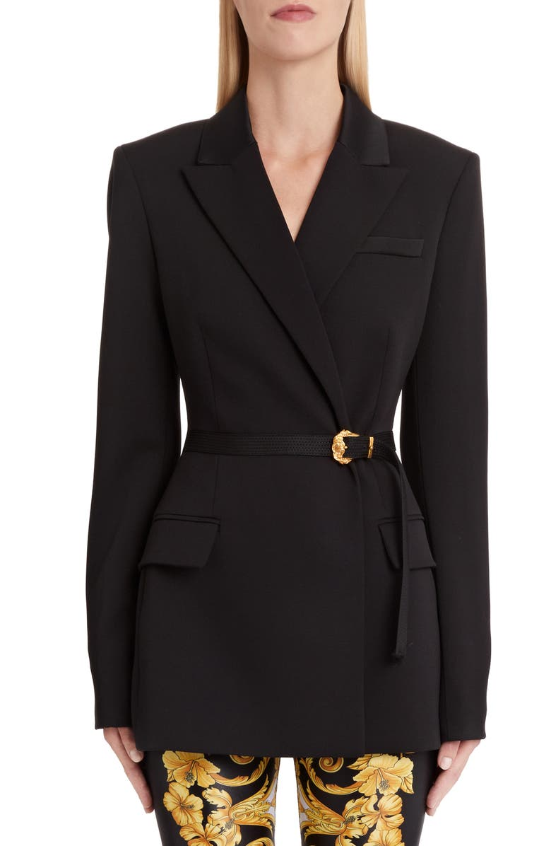 VERSACE Belted Stretch Wool Blazer, Main, color, BLACK