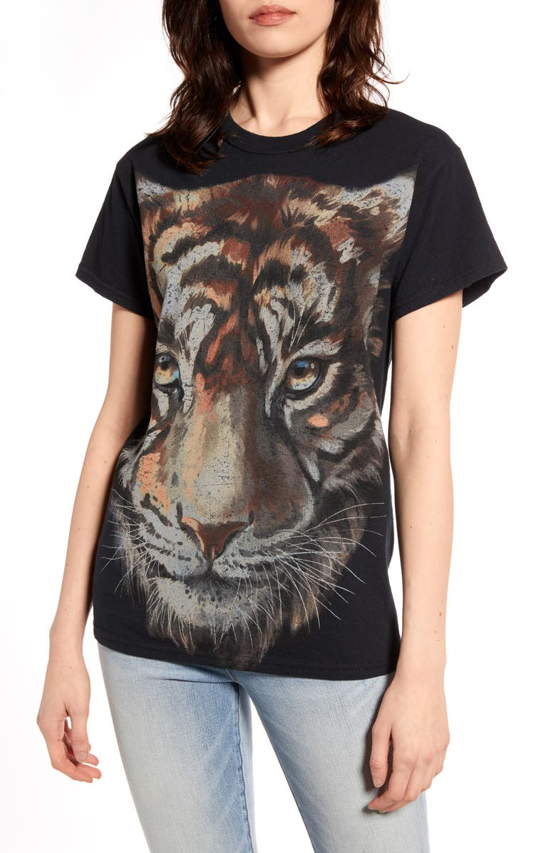 VINYL ICONS Tiger Oversize Tee, Main, color, WASHED BLACK