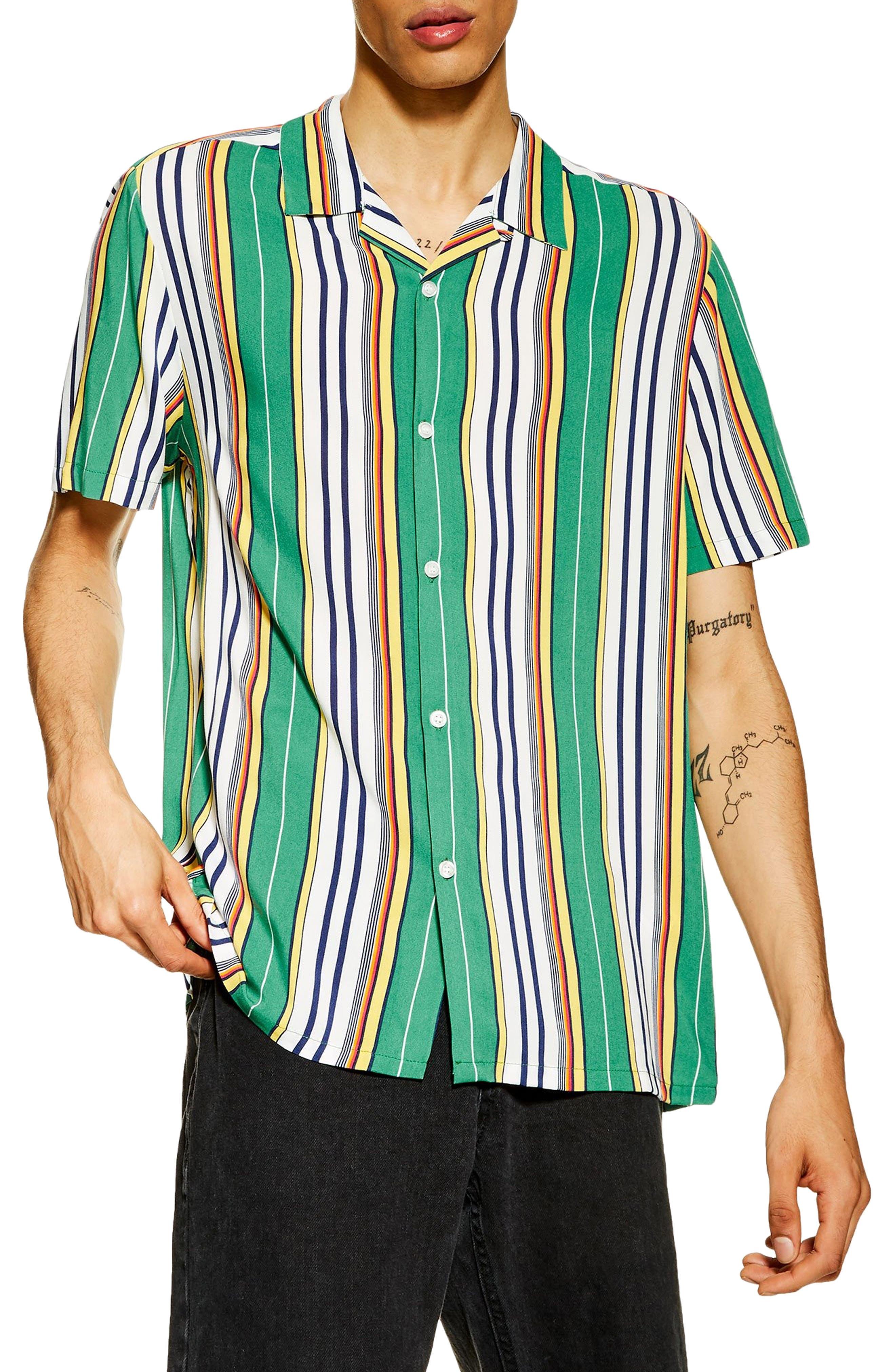 1960s – 70s Mens Shirts- Disco Shirts, Hippie Shirts Mens Topman Slim Fit Stripe Camp Shirt $45.00 AT vintagedancer.com