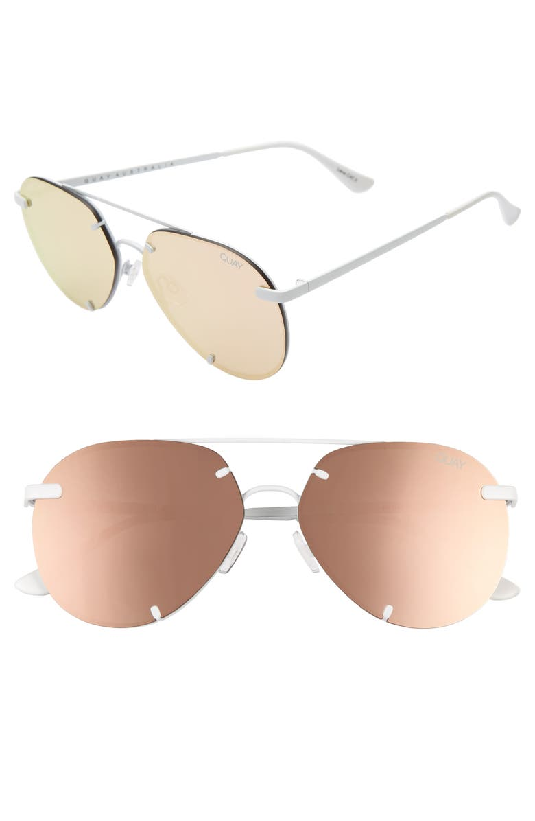 QUAY AUSTRALIA Rebelle 60mm Aviator Sunglasses, Main, color, WHITE/ ROSE