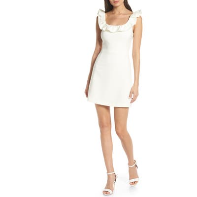 French Connection Whisper Ruffle Minidress, White